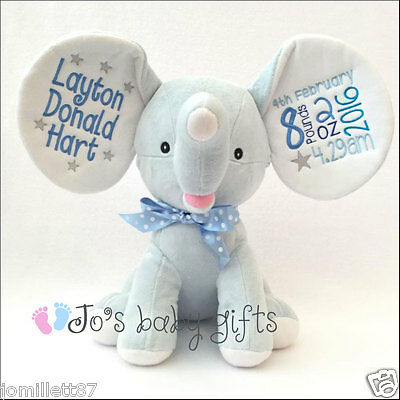 Personalised Blue Dumble Cubby, New Baby Teddy Bear Gift, Embroidered Cubbies