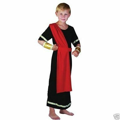 Boys Roman Emperor toga Greek Caesar childs Kids fancy dress costume Outfit