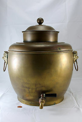 Antique Brass Chinese Hot Water Pot Huge Urn Samovar Foo Dog Handles