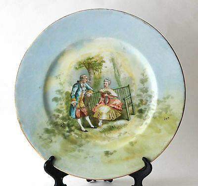 Antique Hand Painted Limoges W G Co Victorian Couple Portrait Plate Charger Mark
