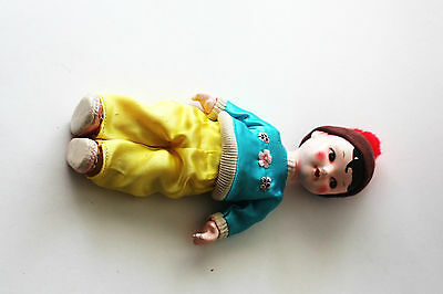Vintage Asian Chinese Oriental Ceramic Boy Doll Silk Clothes