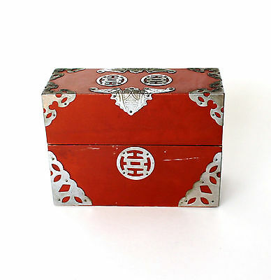 Antique Oriental Japanese Lacquer Work Card Game Paper Mache Wood Box Silver Bat