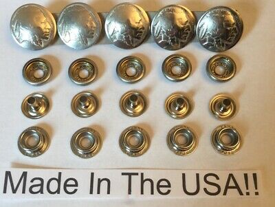 5 Authentic Buffalo  Nickel Snaps! Biker Leather Vest Handmade In USA! Line  24