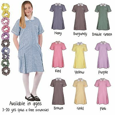 Ages 3 - 20 Girls Summer Check Gingham School Dress Pleated Sky Blue Purple Red