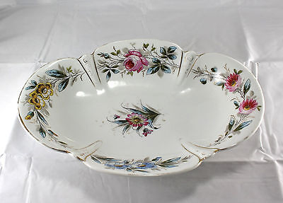 Vintage Porcelain Floral Rose Oval Bowl Hand Painted Gorgeous Marked Numbered