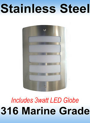 316 Marine Grade Stainless Steel Exterior Bunker Grill Wall Light inc 3w LED