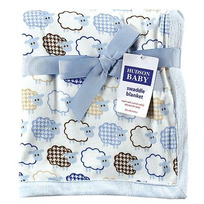 Hudson Baby Sheep Printed Blanket with Plush Backing, Blue (Discontinued by Manu