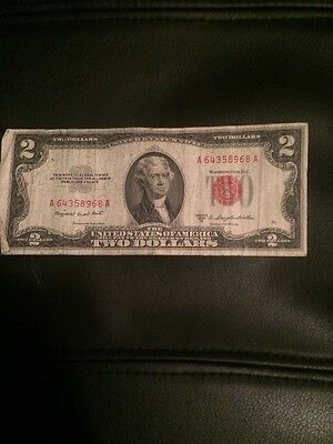 (1) One 1953B  Series United States Note Red Seal $2 Two Dollar Bill