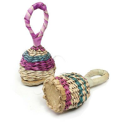Straw Wicker Rattles - Bambara -africa music instrument & art US seller M-W090