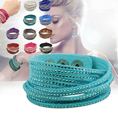 Multilayer Leather Wrap Wristband Cuff Crystal Rhinestone Rivet Suede Bracelet C