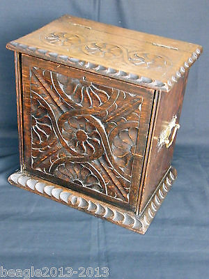 A Fine Early Carved Oak Colleters Smokers Cabinet Box