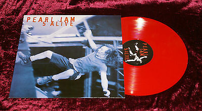 "Red Vinyl 12"" PEARL JAM 5 ALIVE LP Bootleg Italy Edition Riverside UK Grunge"