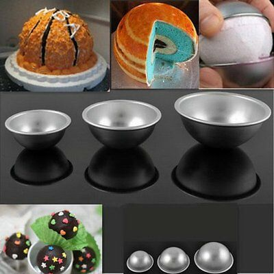 2pcs New Ball Stainless Steel Sphere Bomb Cake Pan Baking Mold Bath Pastry Mould