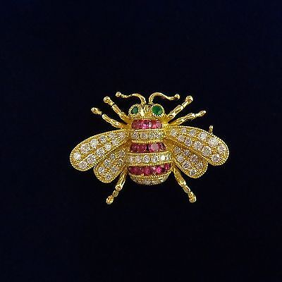 Ruby/ Emerald/ Diamond Miniature Bee Pendant / Brooch In 18ct Yellow Gold