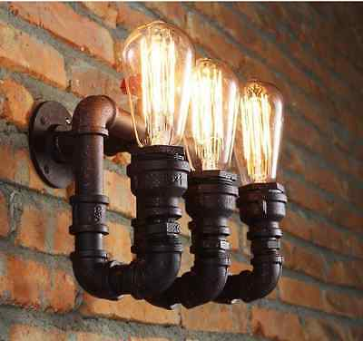Wall Light 3 Bulb Water Pipe Lamp (21 day delivery) Retro Vintage E27 Edison NEW
