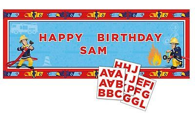 4ft x Fireman Sam Birthday Party Personalised Banner Decoration