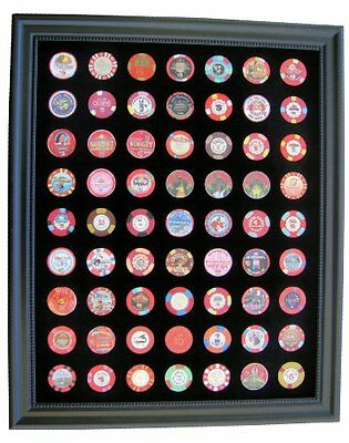 Black Casino Chip Display Frame for 63 Casino Poker Chips (not included), New, F