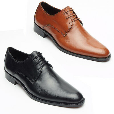 Mens Real Leather Smart Casual Lace Up Black/Tan Italian Office/Wedding shoes