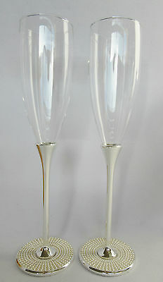 Wedding/Bridal Party Toasting Glasses Champagne Wine Flutes PEARL Base Silver