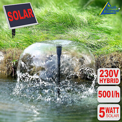 Solar Water Pump Hybrid Pond Kit Garden Feature Fountain Powered Submersible