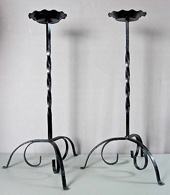 PAIR OF TALL CANDLEHOLDERS__Vintage Set__2Ft Tall Black Wrought Iron__SHIPS FREE
