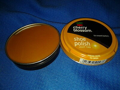 Cherry Blossom Shoe Polish Light Tan /brown For Boots Smooth Waterproofs Leather