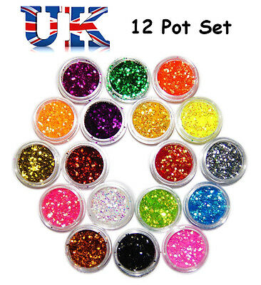 Nail Glitter Dust Powder Art Tips Manicure Decoration Set Craft 12 Colours Kit