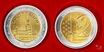 2 EURO Probe 2001 Belgien - Bi-Metall ca 12g 25mm