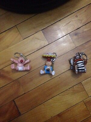 Lot Of 3 Vintage Garbage Pail Kids Up Chuck-Adam Bomb-Electric Bill Keychains