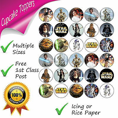 Star Wars Party Cupcake Toppers Edible Printed Starwars Cupcake Decorations