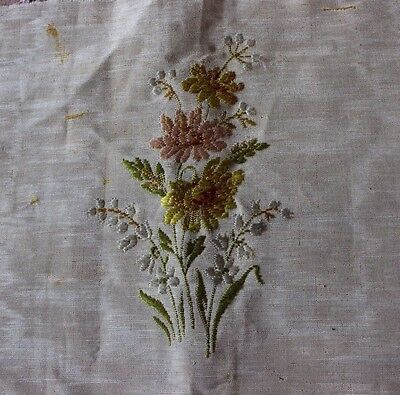 "French Antique Silk Brocade Floral&Scroll Home Dec Fabric c1880~14""LX17""W"