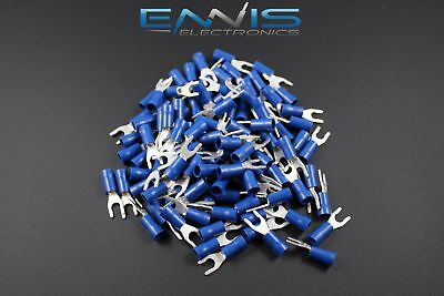 14-16 Gauge Vinyl Locking Spade # 8 Connector 50 Pk Blue Crimp Terminal Awg