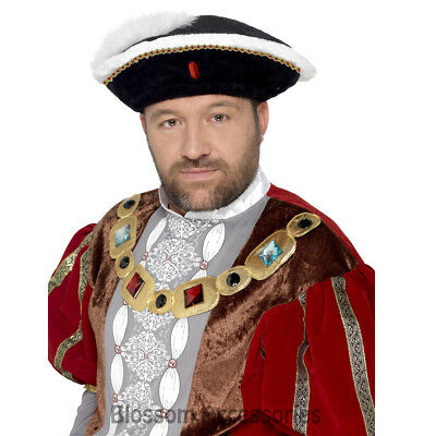A707 King Henry VIII Historical Costume Hat Medieval Tudor Fancy Dress Accessory
