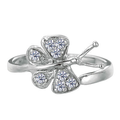 925 Sterling Silver Rhodium Plated Butterfly With CZ Adjustable Toe Ring