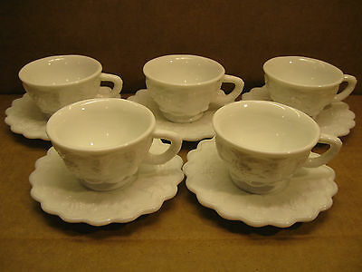 Westmoreland Glass Paneled Grape Five Tea Cups and Five Saucers Milk Glass Mint