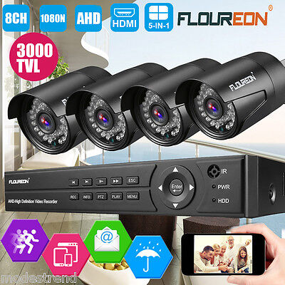 8CH 1080N AHD DVR Outdoor 2000TVL 960P CCTV Camera Home Shop Security System AU