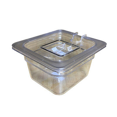 "Set 1/6-Size Clear Polycarbonate Food Pan Container 4"" Deep + Plastic Cover New"