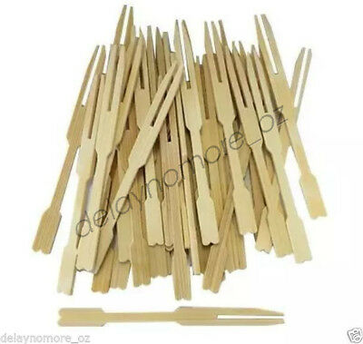 1000x Bamboo Catering Forks Sticks Cocktail Picnic Wedding Party Finger Food BBQ