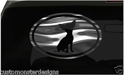 Chihuahua Oval Sticker Dog Puppy Euro Sticker all chrome and regular vinyl color
