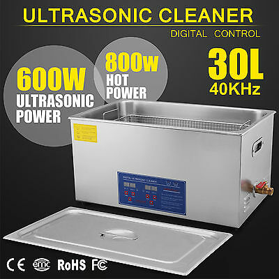 30L Digital Ultrasonic Cleaner Industrial Ultra Sonic Wave Tank Basket Cover New