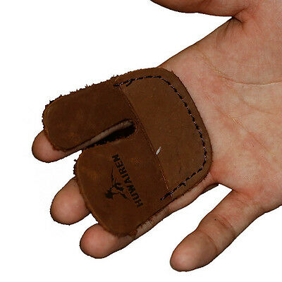 2 Finger Guards Cow Leather Protective Gear Archery Shooting Bow Fingertabs