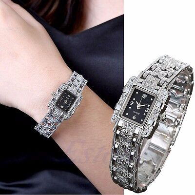 Women Luxury Stainless Steel Military Quartz Lady Crystal Bracelet Wrist Watch