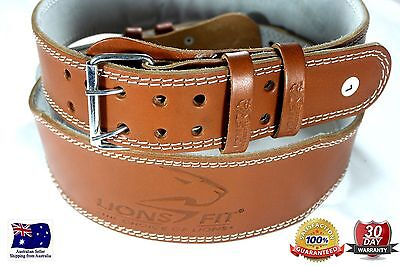 """Lions Fit 4""""wide Brown Color Real Leather Weight Lifting, Bodybuilding Gym Belt"""
