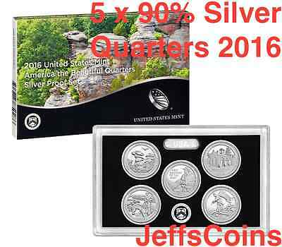 2016 S America the Beautiful QUARTER 90% Silver Proof Set US Mint 5 AQ + Box COA