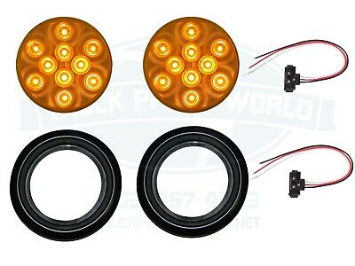 "2 Amber 10 LED 4/"" Round Truck Trailer Brake Auxiliary Turn Tail Lights"