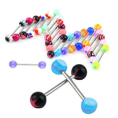 NEW 50pc Mix Colorful Ball Tongue Nipple Bar Ring Barbell Body Jewelry Piercing