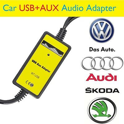 Car USB AUX Audio Mp3 Adapter For VW Audi Skoda(8Pin)Polo Golf A2 Changer iPhone