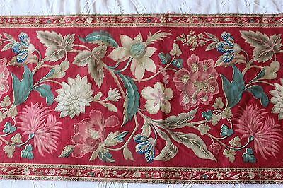 "Handblocked Printed French Antique Indienne Jacobean Fabric c1830-40~1y""X14""W"
