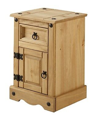 Mercers Furniture® Corona Mexican Pine Narrow Pot Cupboard Bedside Cabinet