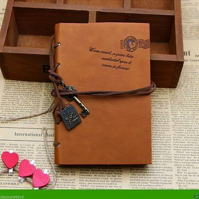 Retro Vintage Leather Blank Diary Classic String Key Notebook Journal Sketchbook